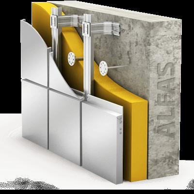 Монтаж вентилируемого фасада из стальных композитных панелей